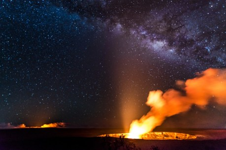 Here are the Halema'uma'u and Pu'u O'o craters glowing with the Milky Way above the Hawaii Volcanoes National Park. Photo courtesy of Nina McIntosh. Posted on Tumblr by the US Department of the Interior on 11/23/14.
