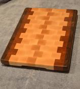 """Commissioned piece. Black Walnut, Hard Maple and Cherry end grain. 12"""" x 16"""" x 1-1/4""""."""