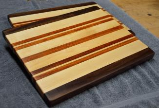 "A pair of Black Walnut, Hard Maple and Jatoba edge grain cutting boards. 12"" x 16"" x 1-1/8"". Already sold."