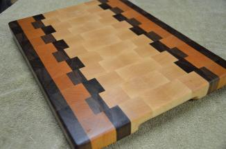 "Love this design. Black Walnut, Cherry and Hard Maple end grain. 12"" x 15"" x 1-1/8""."