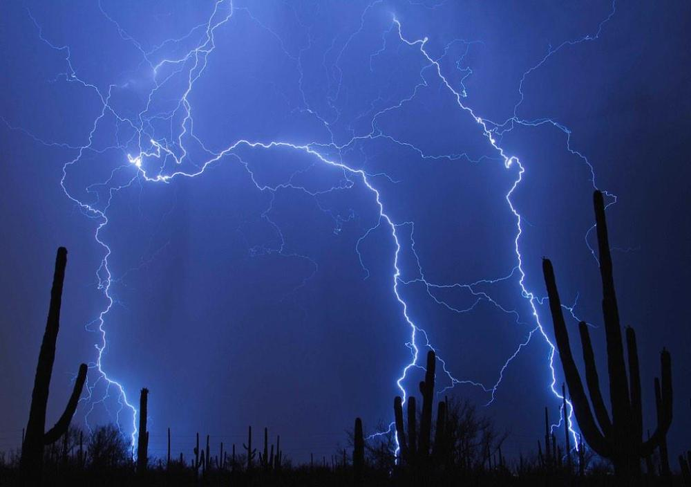 Lightning strike at Saguaro National Park. Photo by Jeremy Thies. Tweeted by the US Department of the Interior on 12/6/14.