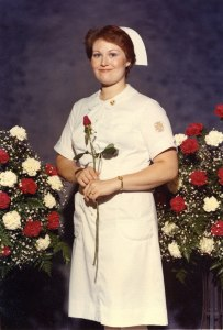 My little paid professional, when she graduated with her RN from the LA County School of Nursing. 1980.