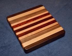 "Cheese Board # 15 - 007. Black Walnut, Hard Maple and Padauk. 9"" x 10"" x 1-1/4""."