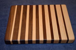 "Cutting Board # 15 - 006. Black Walnut & Hard Maple edge grain. 12"" x 16"" x 1-1/2""."