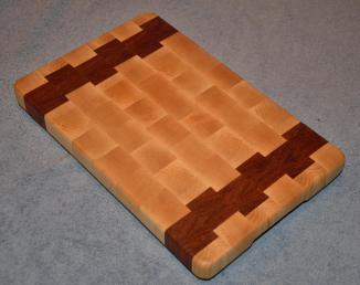 "Small Board # 15 - 020. Hard Maple and Jatoba. 8"" x 12"" x 1-1/4""."