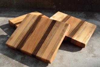 "Cheese Board # 15 - 015. 8"" x 10"" x 1"". Hickory, Honey Locust, Black Walnut and Cherry."