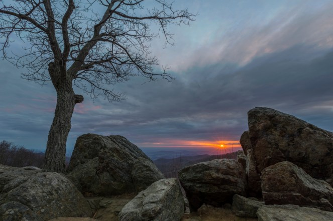 Shenandoah National Park in Virginia has some spectacular sunrises, like this one from Hazel Mountain Overlook. Just 75 miles from Washington, DC, Shenandoah offers an escape from the city with cascading waterfalls, spectacular vistas and quiet wooded hollows. National Park Service photo. Posted on Tumblr 2/28/15 by the US Department of the Interior.