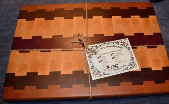 """Cutting Board # 15 - 028. Cherry, Black Walnut, Hard Maple and Purpleheart end grain. 13"""" x 19"""" x 1-1/2"""". The photo doesn't do this board justice!"""
