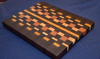 "Cutting Board # 15 - 036. Black Walnut, Yellowheart, Maple and Cherry End Grain. 16"" x 20"" x 1-1/2""."