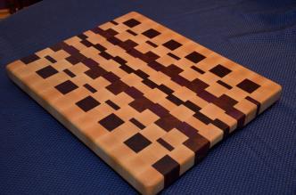 "Cutting Board # 15 - 041. Hard Maple, Jatoba, Purpleheart and Padauk. End Grain. 16"" x 20"" x 1-1/2""."