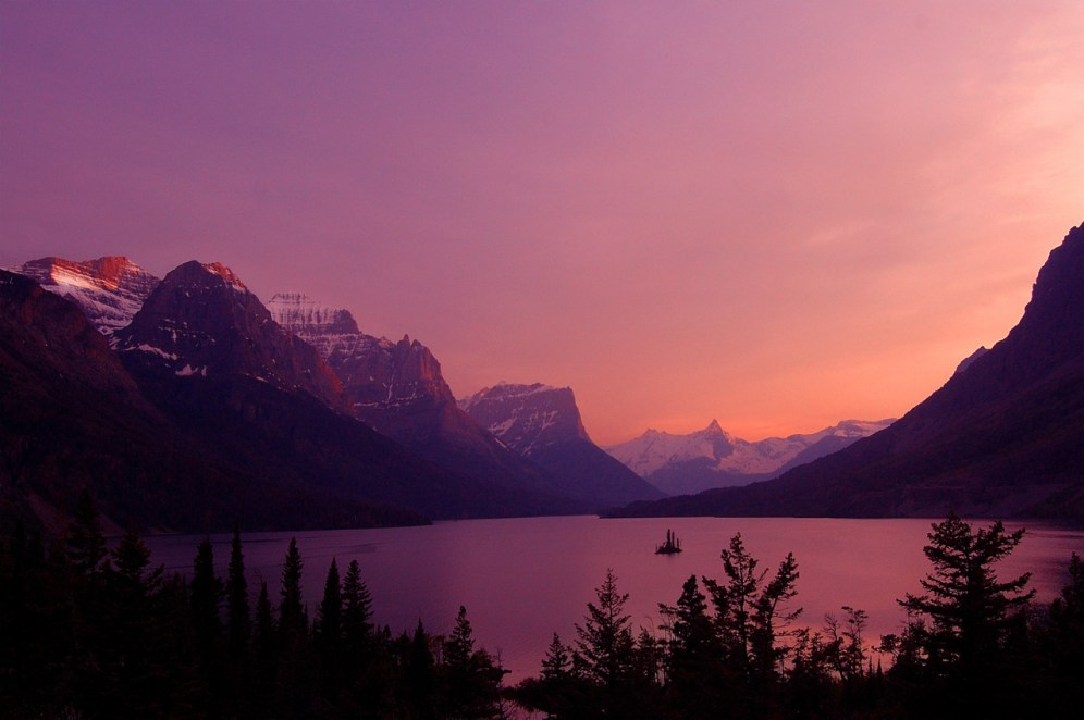 Come and experience Glacier National Park's pristine forests, alpine meadows, rugged mountains and spectacular lakes. With over 700 miles of trails, Glacier in Montana is a hiker's paradise for adventurous visitors seeking wilderness and solitude. Sunset at St. Mary Lake by Matt Simons. Posted on Tumblr by the US Department of the Interior, 4/6/15.