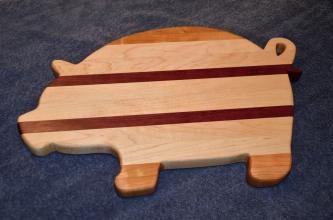 "Pig 15 - 04. Cherry, Hard Maple and Purpleheart. 12"" x 19"" x 1""."