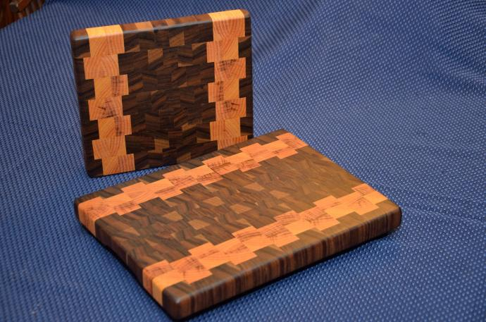 """Small Board # 15 - 034. Some exquisite layered grain Black Walnut and Honey Locust End Grain. The larger board is 10"""" x 12"""" x 1-1/4"""". The smaller one is 8"""" x 10"""" x 1-1/4""""."""