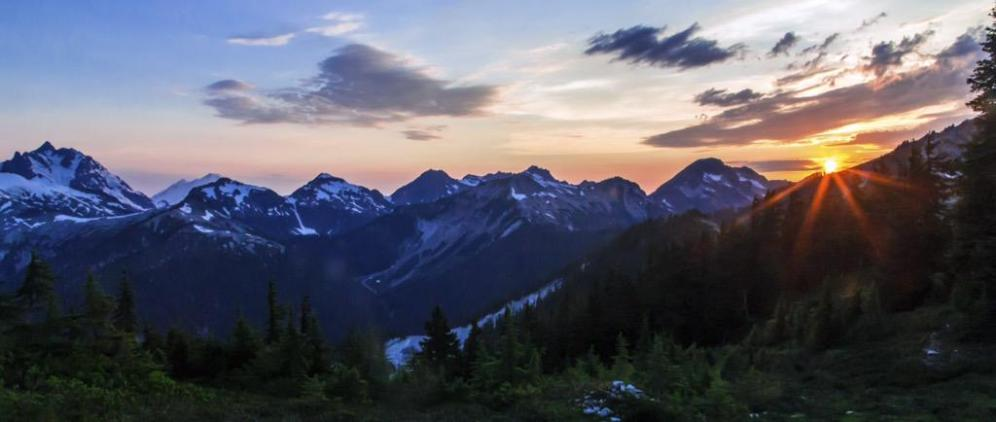 Sunset over Washington's Cascades National Park. Photo by Andy Porter. Tweeted by the US Department of the Interior, 5/9/15.