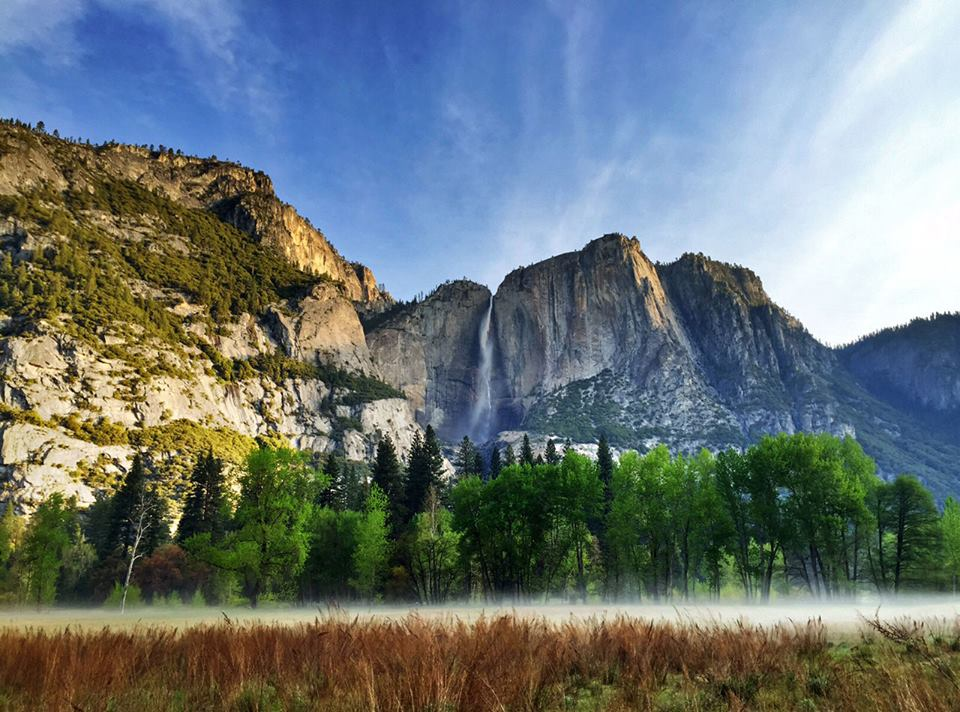 This dramatic shot of Yosemite Falls was taken last month as the early morning fog began to burn off the valley floor. Yosemite Falls, one of the world's tallest waterfalls, is actually made up of three separate falls: Upper Yosemite Fall, the middle cascades and Lower Yosemite Fall. The best time to see Yosemite Falls is November through July with peak flow typically in May. Photo by Kari Cobb. Posted on Tumblr by the US Department of the Interior, 5/21/15.