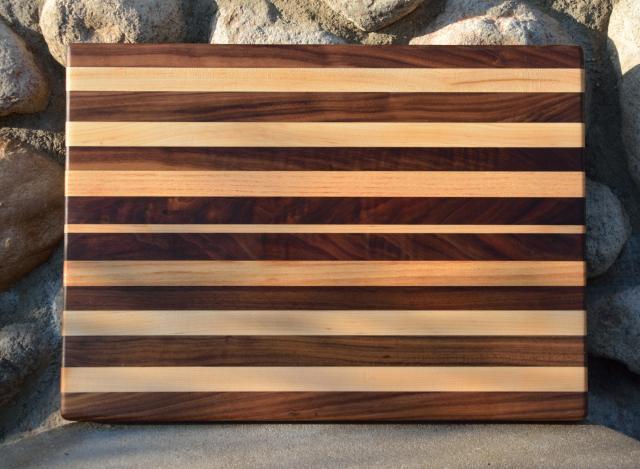 "Cutting Board 15 - 049. Black Walnut, Hard Maple and Honey Locust edge grain. 13"" x 16"" x 1-1/4""."