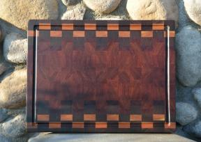 "Cutting Board # 15 - 050. Black Walnut, Cherry, Jarrah & Jatoba. End grain with juice groove. 16"" x 21""."