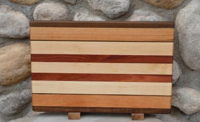 "Cutting Board # 15 - 055. Black Walnut, Cherry, Hard Maple & Jarrah edge grain. 11"" x 18"" x 1-1/4""."