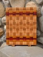 "Cutting Board 15 - 059. Hard Maple, Yellowheart & Padauk end grain with juice groove. Commissioned piece. 14"" x 18"" x 1-1/2""."