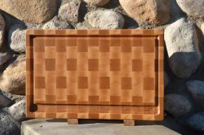 """Cutting Board # 15 - 061. The meat eater's board. Hard Maple end grain with juice groove - a deep, wide juice groove. 13"""" x 19"""" x 1-1/4""""."""
