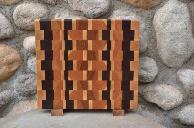 "Small Board # 15 - 037. Cherry, Black Walnut & Hard Maple end grain. 11"" x 12"" x 1-1/4""."