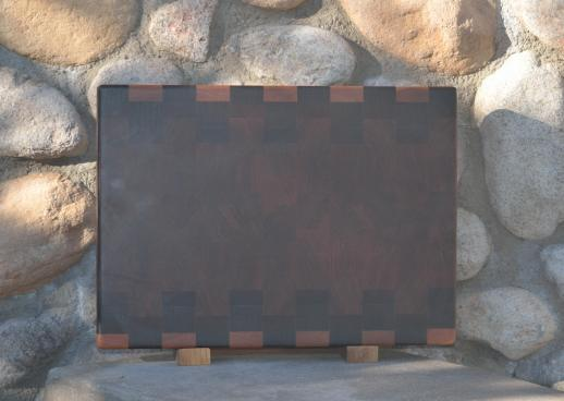 "Cutting Board 15 - 066. Cherry, Jatoba, Jarrah & Black Walnut. End Grain. 12-1/4"" x 17"" x 1-1/2""."