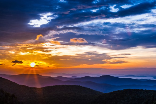 "A magnificent sunrise at Blue Ridge Parkway. This stunning photo was taken by Eric Allen Van Tassel at the East Fork Overlook on the North Carolina side of the Parkway. Feeling lucky to stumble upon the overlook at the right time, Eric is still hesitant to show it off because ""I felt the product does not reflect the overwhelming beauty and the excitement we experienced watching the sunrise that morning."" We know the feeling, but think this photo is definitely worth sharing! Photo courtesy of Eric Allen Van Tassel. Posted on Tumblr by the US Department of the Interior, 9/17/15."