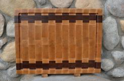 """Cutting Board # 15 - 067. Hard Maple & Jatoba. End Grain, Juice Groove. 16"""" x 20"""" x 1-1/2"""". Two of these were made."""