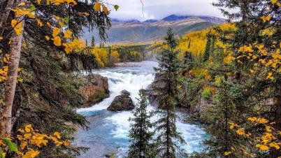 Tanalian Falls at Alaska's Lake Clark National Park. Posted on Tumblr by the US Department of the Interior, 9/22/15.