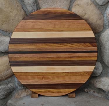 """Lazy Susan # 15 - 016. Red Oak,x Teak, Black Walnut & Hard Maple. 19"""" diameter x 3/4""""."""