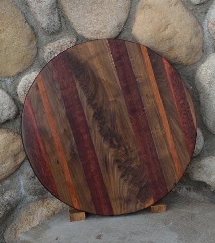 """Lazy Susan # 15 - 018. Black Walnut, Cherry, & Jarrah. 17"""" diameter x 3/4""""."""