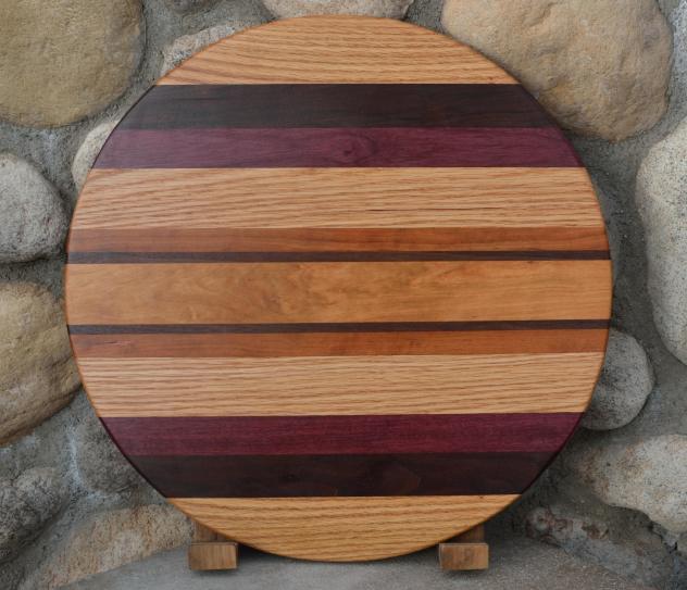"Lazy Susan # 15 - 019. Red Oak, Black Walnut, Purpleheart, Cherry & Hard Maple. 17"" diameter x 3/4""."