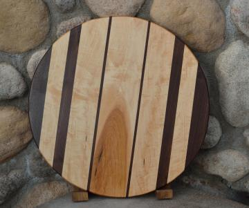 "Lazy Susan # 15 - 020. Black Walnut & Hard Maple. 17"" diameter x 3/4""."