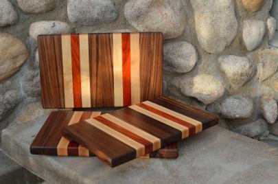 """Small Board # 15 - 052. Black Walnut, Hard Maple & Padauk. 7"""" x 12"""" x 1""""."""