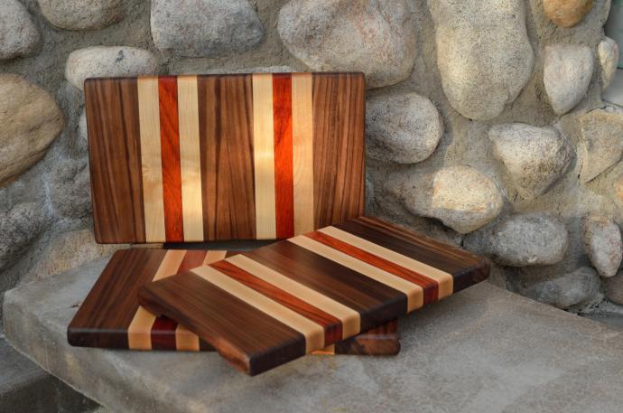 "Small Board # 15 - 052. Black Walnut, Hard Maple & Padauk. Edge grain. 8"" x 12"" x 1""."