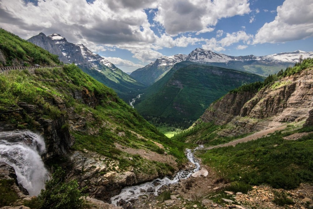 Talk about an epic view! This pic was taken from Haystack Falls at Glacier National Park in Montana. Haystack Falls is a popular turnout on the park's Going To The Sun Road. Posted on the US Department of the Interior blog, 10/19/15.