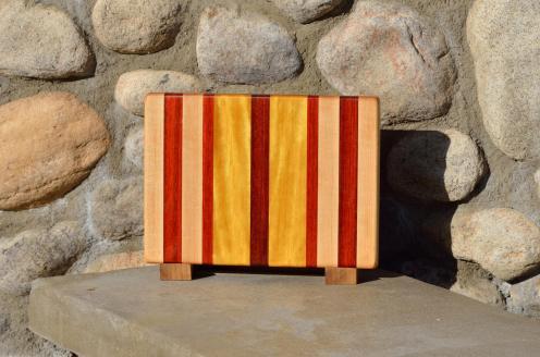 """Small board # 15 - 057. Hard Maple, Padauk & Yellowheart. Edge grain. 11-1/4"""" x 8-1/4"""" x 1""""."""
