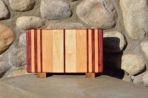 """Small Board # 15 - 057. Purpleheart & Hard Maple. 12-1/2"""" x 7"""" x 1""""."""