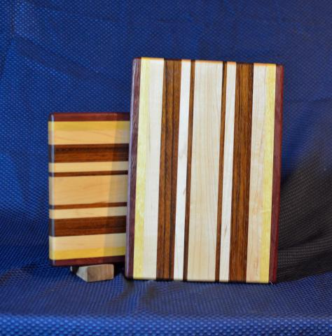 "Cheese Board # 15 - 043. Purpleheart, Hard Maple & Jatoba. Edge Grain. 9"" x 11"" x 3/4""."