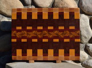 """Cutting Board # 15 - 083. Hard Maple, Cherryt, Yellowheart, Jatoba, Bloodwood & Canarywood. Sold in its first showing. End Grain. 16"""" x 20"""" x 1-1/2""""."""