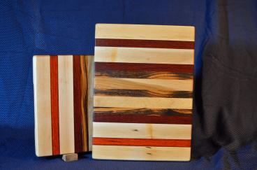"Cutting Board # 15 - 104. Hard Maple, Paduak, Black Walnut & Goncalo Alves. Edge Grain. 12"" x 16"" x 1-1/4""."