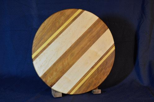 "Lazy Susan # 15 - 032. Teak, Yellowheart and Birdseye Maple. 17"" diameter x 3/4""."