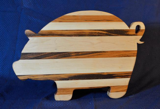 "Pig # 15 - 09. Hard Maple & Goncalo Alves. 19"" x 12"" x 1-1/8""."