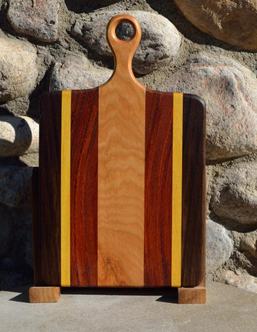 "Sous Chef # 15 - 56. Black Walnut, Yellowheart, Jatoba & Hard Maple. 9"" x 16"" x 3/4""."