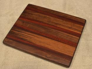 "Cheese Board # 15 - 055. Black Walnut & Bloodwood. 8"" x 11"" x 3/4""."