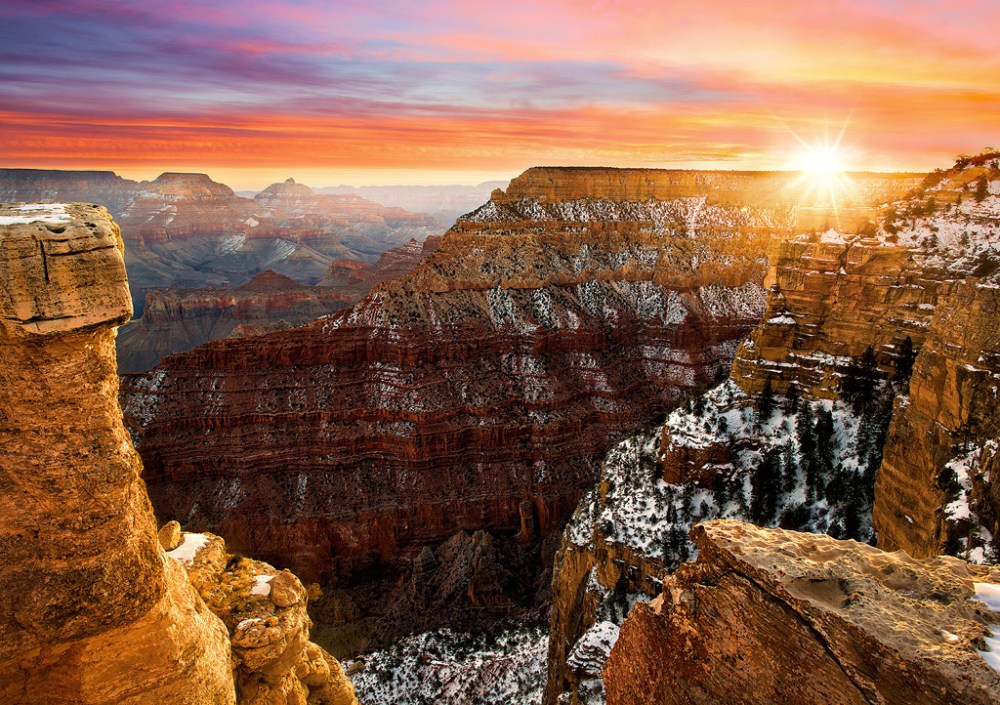 It doesn't get much better than the views found at Grand Canyon National Park in Arizona. With seemingly unlimited vistas to the east and west, it is popular for both sunrise and sunset. This sunrise looks even better with some snow catching the dawn's early light. Photo by Steve Perry. Posted on Tumblr by the US Department of the Interior, 12/17/15.