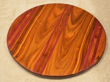 "Lazy Susan # 15 - 043. Jatoba, Purpleheart & Canarywood. 17"" diameter x 3/4""."