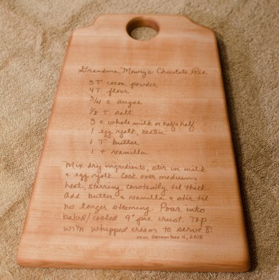 "Recipe Board 15 - 01. Hard Maple. 8"" x 12"" x 3/4""."