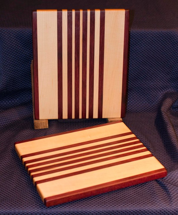 "Cheese Board 16 - 003. Purpleheart & Hard Maple. 9"" x 11"" x 3/4""."