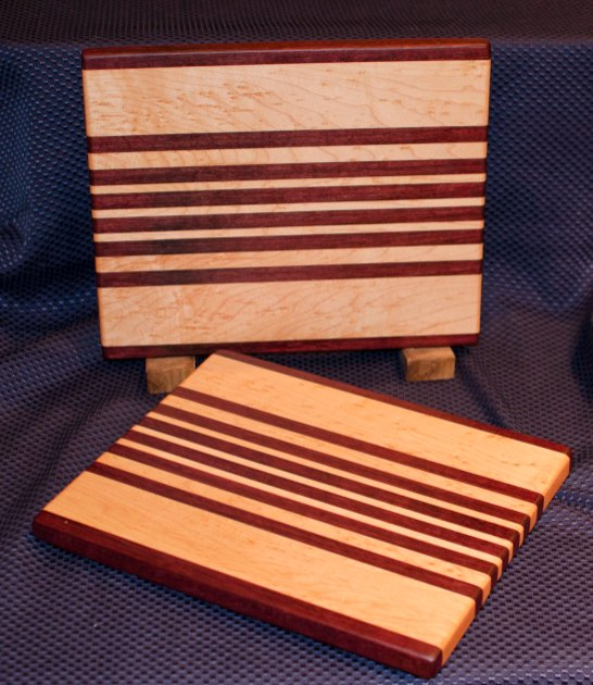 "Cheese Board 16 - 004. Purpleheart & Birds Eye Maple. 9"" x 11"" x 3/4""."